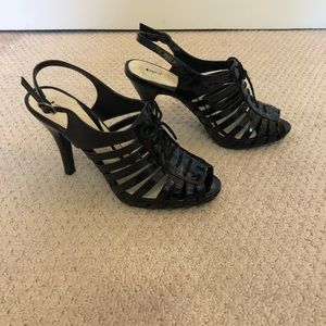 Apt 9 paten black caged heels